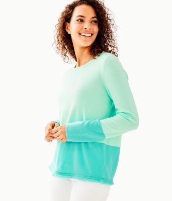 Rica Cashmere Sweater, Resort Aqua Sea Crystals Color Block, large 0
