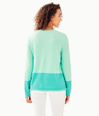 Rica Cashmere Sweater, Resort Aqua Sea Crystals Color Block, large 1