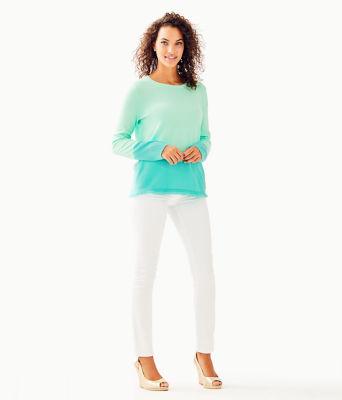 Rica Cashmere Sweater, Resort Aqua Sea Crystals Color Block, large 2