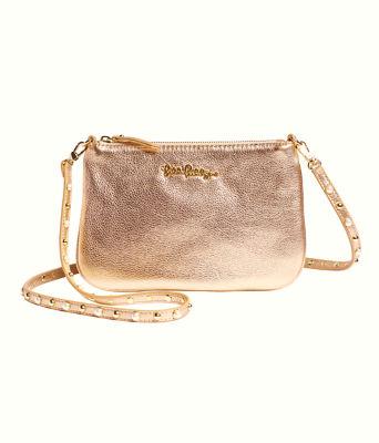 Studded Leather Cruisin Crossbody Bag, Gold Metallic, large