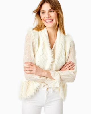 Torini Faux Fur Sweater Vest, Coconut, large 0