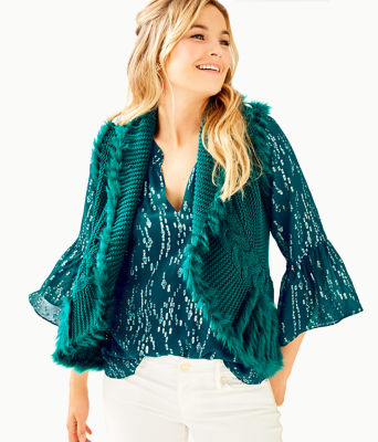 Torini Faux Fur Sweater Vest, Inky Turquoise, large 0