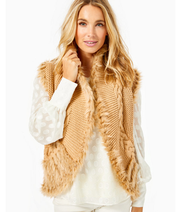 Torini Faux Fur Sweater Vest, Sand Castle Metallic, large