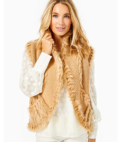Torini Faux Fur Sweater Vest, Sand Castle Metallic, large 0