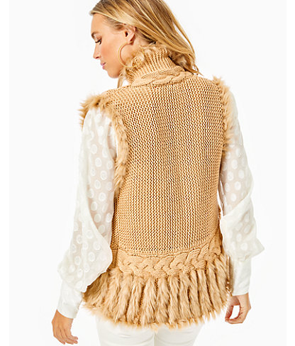 Torini Faux Fur Sweater Vest, Sand Castle Metallic, large 1