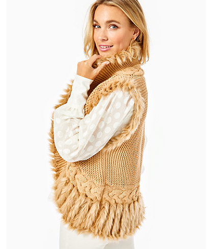 Torini Faux Fur Sweater Vest, Sand Castle Metallic, large 2