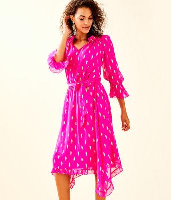 Alyanna Silk Midi Dress, , large