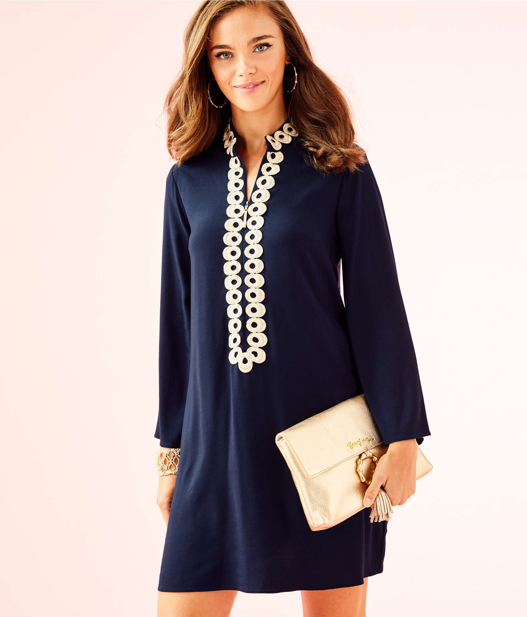 7dd125593ed440 ... Gracelynn Stretch Tunic Dress, True Navy, large ...