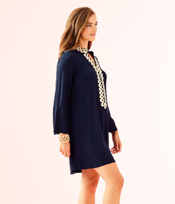 Gracelynn Stretch Tunic Dress, True Navy, large 2