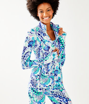 Luxletic Serena Jacket, Turquoise Oasis Wave After Wave, large