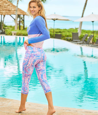 "UPF 50+ Luxletic 21"" Weekender Crop Legging, Coastal Blue Maybe Gator, large"