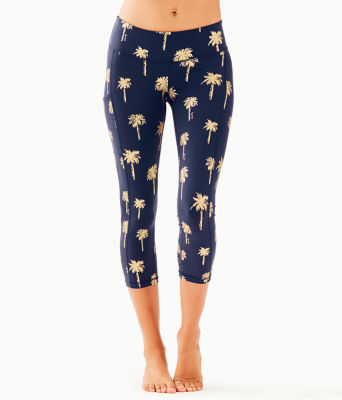 "UPF 50+ Luxletic 21"" Weekender Crop Legging, True Navy Sunset Safari Palms, large 0"