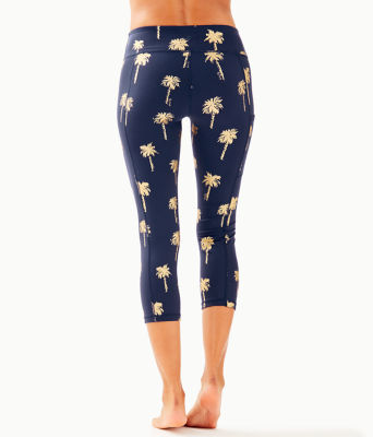 "UPF 50+ Luxletic 21"" Weekender Crop Legging, True Navy Sunset Safari Palms, large 1"