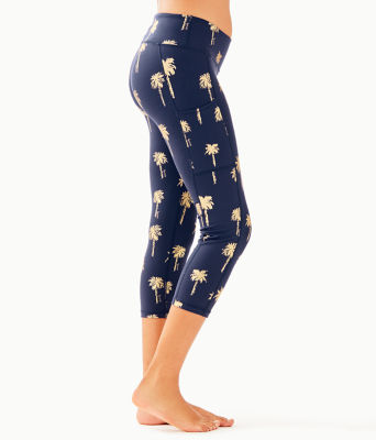 "UPF 50+ Luxletic 21"" Weekender Crop Legging, True Navy Sunset Safari Palms, large 2"