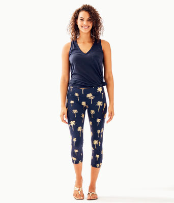 "UPF 50+ Luxletic 21"" Weekender Crop Legging, True Navy Sunset Safari Palms, large"