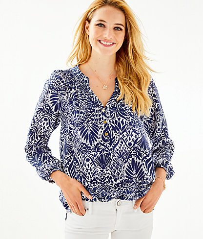Elsa Silk Top, High Tide Navy By Land Or By Sea, large 0