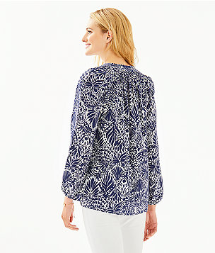 Elsa Silk Top, High Tide Navy By Land Or By Sea, large