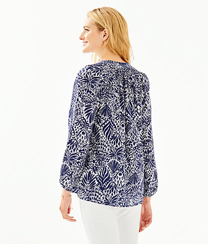 Elsa Silk Top, High Tide Navy By Land Or By Sea, large 1
