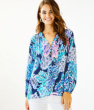 Elsa Silk Top, High Tide Navy Party In Paradise, large