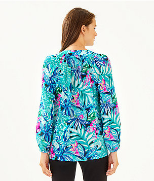 Elsa Silk Top, Maldives Green Hype It Up, large