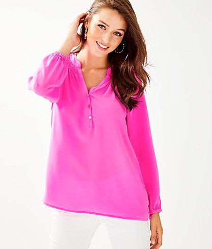 Elsa Silk Top, Mandevilla Pink, large 0