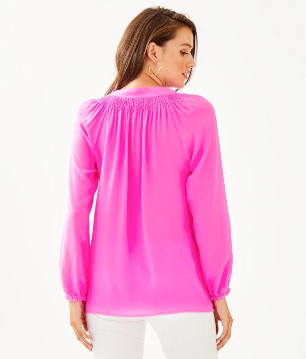 Elsa Silk Top, Mandevilla Pink, large