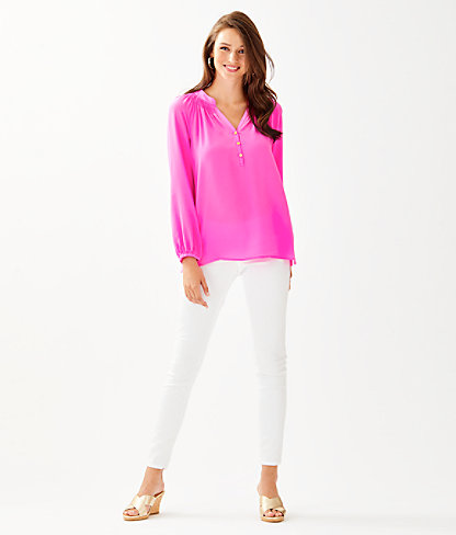 Elsa Silk Top, Mandevilla Pink, large 2