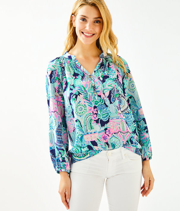 Elsa Silk Top, Multi Lookin Sharp, large