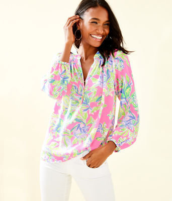 Elsa Silk Top, Multi Squeeze The Day, large 0