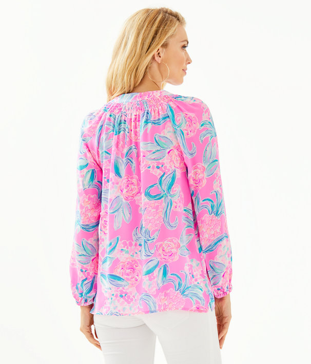 Elsa Silk Top, Prosecco Pink Pinking Positive, large