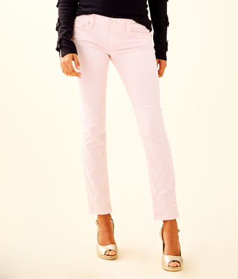 "29"" Worth Skinny Jean - Custom Pearl Embellishment, Pink Fizz, large"