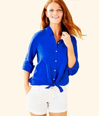 Sea View Button Down Top, Blue Grotto, large 0