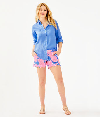 Sea View Button Down Top, Blue Haven, large