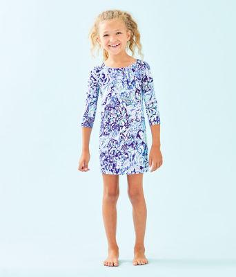 Girls UPF 50+ Mini Sophie Dress, Royal Purple 60 Animals, large