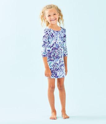 Girls UPF 50+ Mini Sophie Dress, Royal Purple 60 Animals, large 2