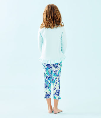 Girls Maia Legging, Turquoise Oasis Wave After Wave, large 1