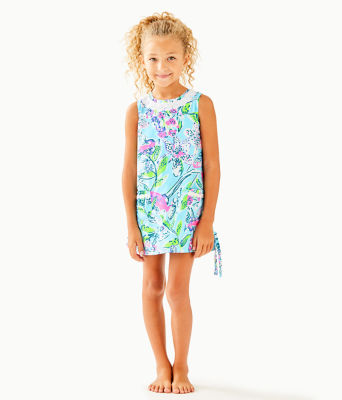 Girls Little Lilly Classic Shift Dress, Bali Blue Sway This Way, large 0