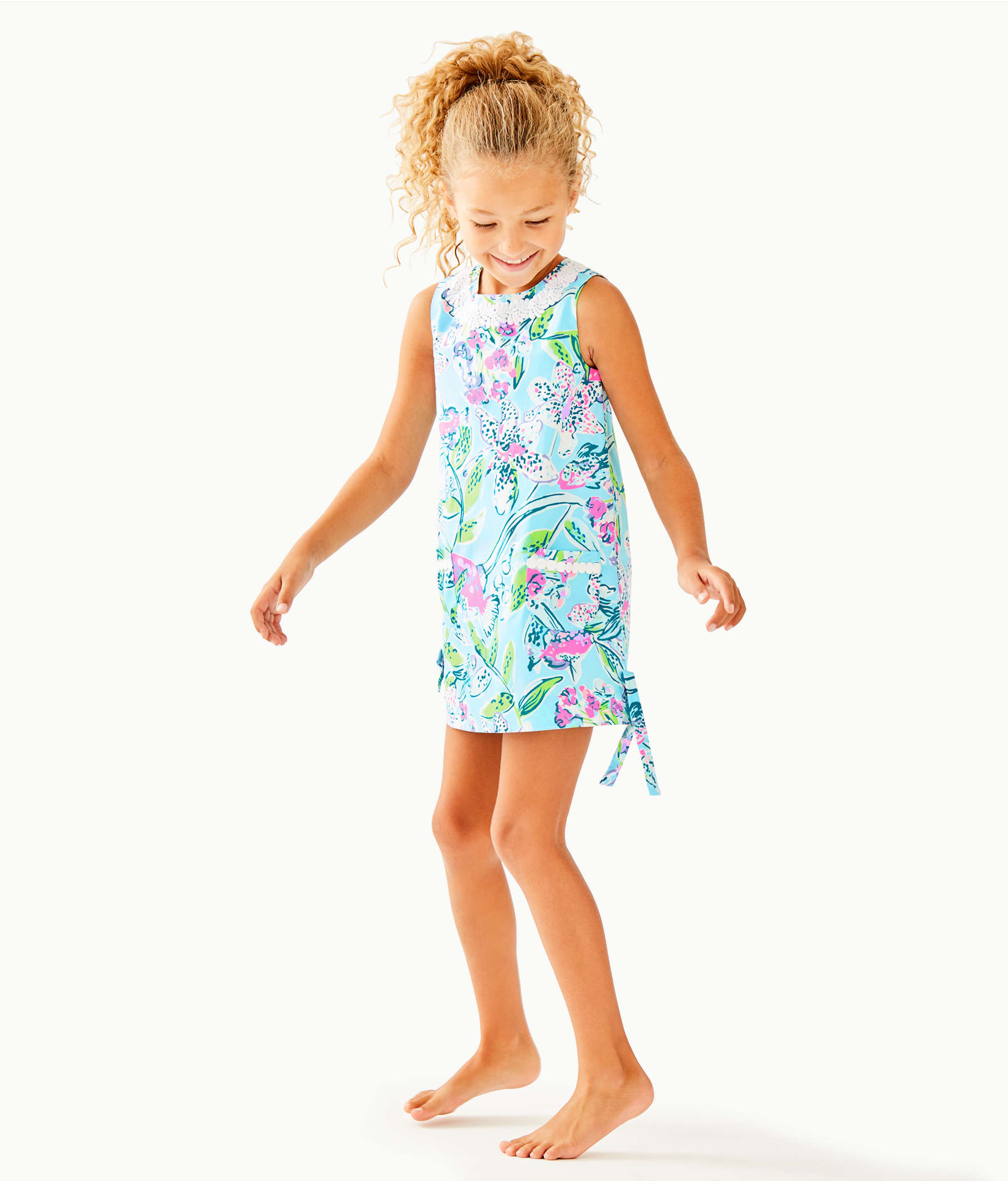 9c359304ab8dc5 Girls Little Lilly Classic Shift Dress, Bali Blue Sway This Way, large Zoom