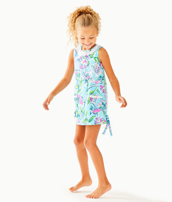 Girls Little Lilly Classic Shift Dress, Bali Blue Sway This Way, large 2