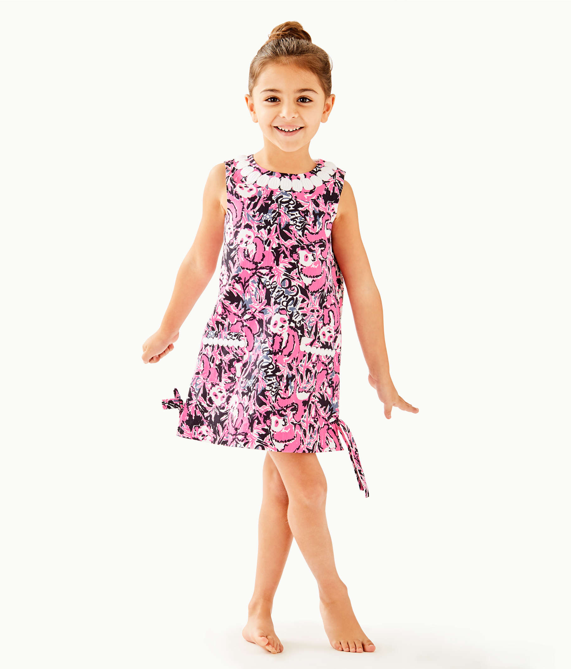 9170a7f65 ... Girls Little Lilly Classic Shift Dress, Hibiscus Pink Hangin With My Boo,  large ...