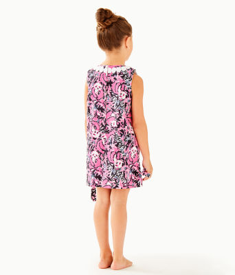 Girls Little Lilly Classic Shift Dress, Hibiscus Pink Hangin With My Boo, large 1