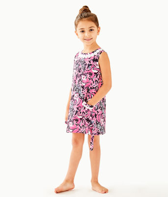 Girls Little Lilly Classic Shift Dress, Hibiscus Pink Hangin With My Boo, large 2