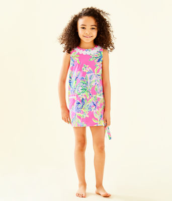 Girls Little Lilly Classic Shift Dress, Multi Squeeze The Day, large 2