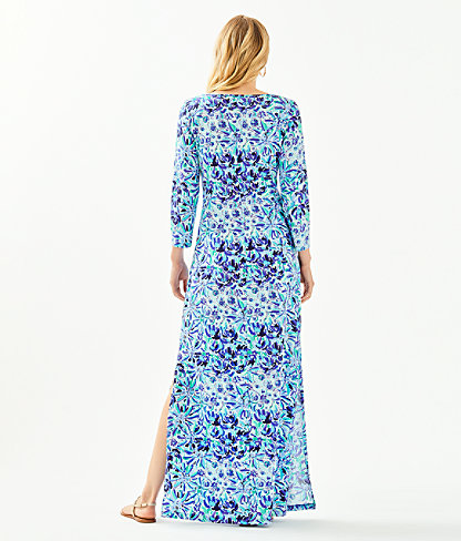 Anissa Maxi Dress, Iris Blue High Manetenance Engineered Knit Maxi, large 1