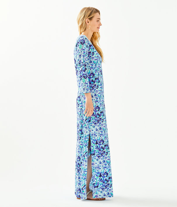 Anissa Maxi Dress, Iris Blue High Manetenance Engineered Knit Maxi, large