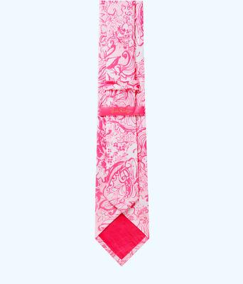 Mens Silk Tie, Pink Tropics Tint Bunny Hop Tie, large 1