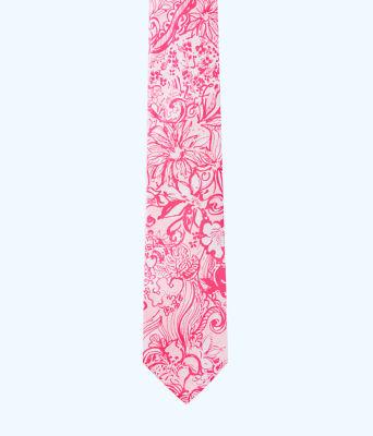 Mens Silk Tie, Pink Tropics Tint Bunny Hop Tie, large