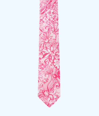 Mens Silk Tie, Pink Tropics Tint Bunny Hop Tie, large 2