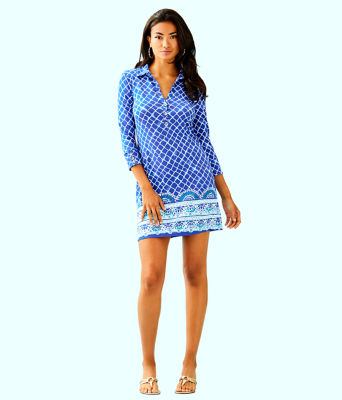 UPF 50+ Ansley Polo Dress, Blue Grotto Tide Up Engineered Dress, large 3