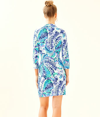 UPF 50+ Ansley Polo Dress, Turquoise Oasis Wave After Wave, large